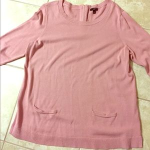 "Talbots pink sweater with pockets and 3/4"" sleeves"
